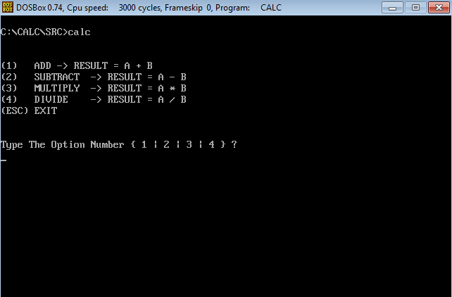 assembler calculator main menu