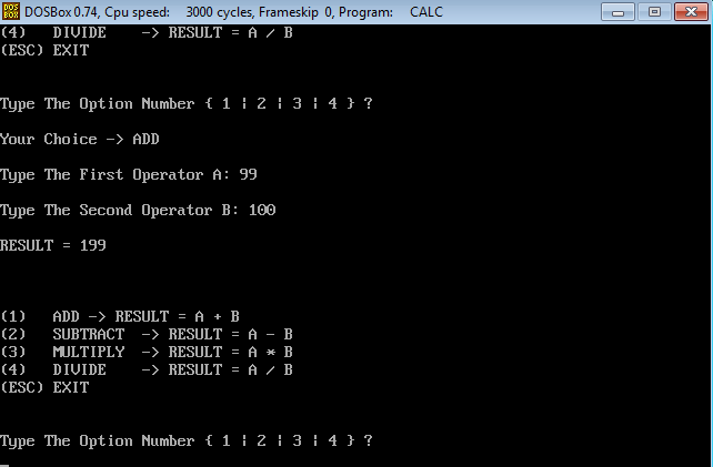 assembler calculator addition result